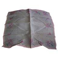 Silk Handkerchief Pink Floral Pattern France WWI