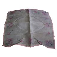 Silk Handkerchief Pink Floral Pattern France WWI