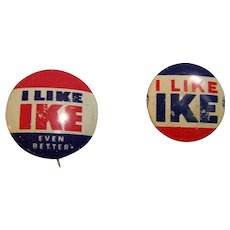 Ike Presidential Political Button Pin 1956 Set of 2