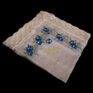 Silk Handkerchief Floral with Lace Embroidered Mother France WWI