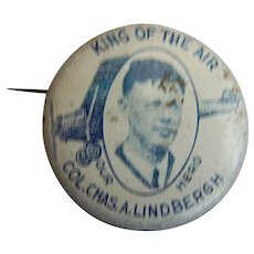 Charles Lindbergh Button Pin King of the Air 1927