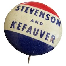 Political Campaign Button Pin Stevenson Kefauver 1956