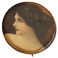 Mourning Button Brooch with Picture
