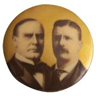 McKinley and Roosevelt Political campaign button pin 1900