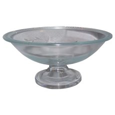 Vintage Glass Etched Compote with Edging