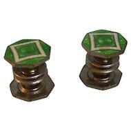 Mosain Snap Cufflink Inlaid Green Silvertone Pat. 1920
