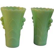 Fire King Anchor Hocking Jadite vases  Set of 2