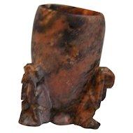 Carved soapstone 3 Monkey toothpick holder