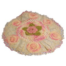Lace Trimmed Crochet Doily with flower applique