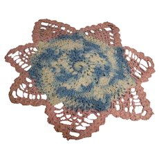 Crochet Doily Blue pink Cream star