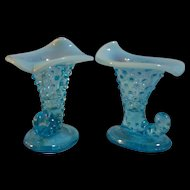 Fenton Blue Opalescent Hobnail Cornucopia Mini Vases set of 2