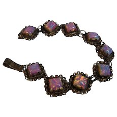Sterling Mexico Glass Opal Bracelet