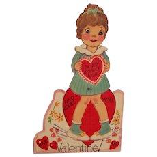 Unused Mechanical Valentine Card Slip of a Girl