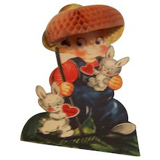 Large Valentine Card Honeycomb Boy with Straw Hat
