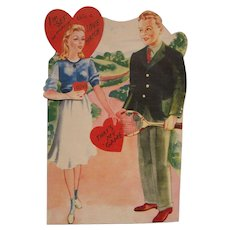 Large Mechanical Valentine Card Tennis Moving Arm