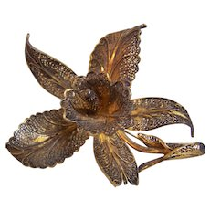 Sterling Filigree Orchid Brooch Portugal