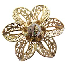 Daughters of Rebekah Odd Fellows Official Floral Goldtone Brooch