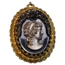 W German Black Cameo Pendant