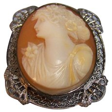 Sterling Filigree Edwardian Cameo Brooch