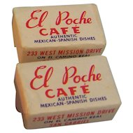 Sugar Cube Advertisement El Poche Cafe Mexican-Spanish set of 2