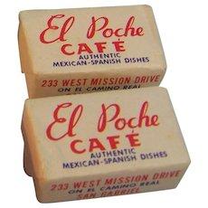 Sugar Cube Advertisement El Poche Cafe Mexican-Spanish set of 2