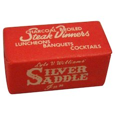 Sugar Cube Advertisement Silver Saddle Inn Downey Ca 1950's