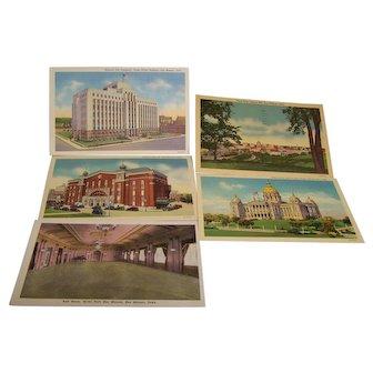 Post Cards Des Moines Iowa C.T. Art-Colortone Set of 5