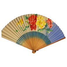 Folding Fan Bamboo and Paper Hand Painted flowers.