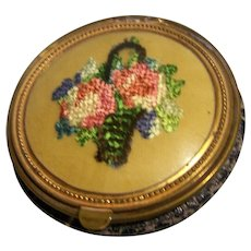 Compact Tapestry Needlepoint Leather base