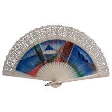 Souvenir  Folding Fan Glacier Park Made in Hong Kong