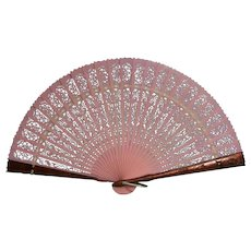 Folding fan  Coral and copper color Made in Hong Kong