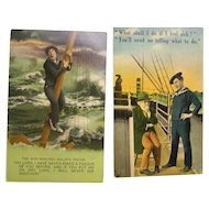 Postcard Military Naval Humorous Set of 2