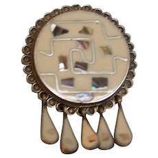 Brooch Pendant Alpaca Mexico inlaid Abalone with Tassels
