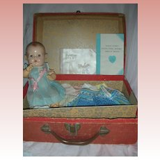 Vintage Early Issue Tiny Dy-Dee Effanbee Baby Doll with Case