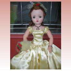 Beautiful Vintage 1950's Cissy Doll by Madame Alexander Yellow Ballgown