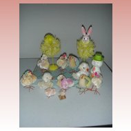 Vintage Easter chenile chickens with Chicks Toys and Rabbit Display