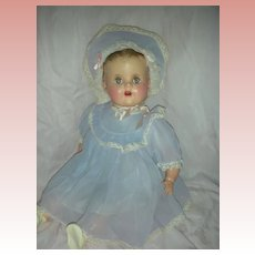 Vintage Talking Mechanical Baby Schilling Doll Molded Hair Mama Doll Hard Plastic