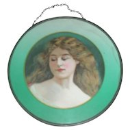 Victorian Flue  Oval Cover with Picture of Maiden