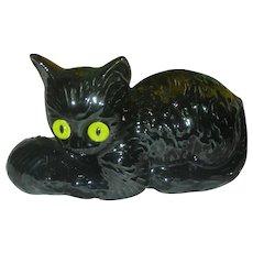 Mid Century Modern Black Cat Halloween Haegar Planter with Glass eyes Head Vase