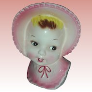 Vintage Little Girl HeadVase Baby Head Vase Planter