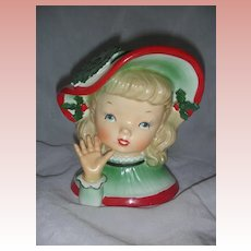 Vintage Napco Christmas Lady Head Vase Planter