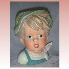 Unusual 6 inch Boy Head Vase Planter Head Vase