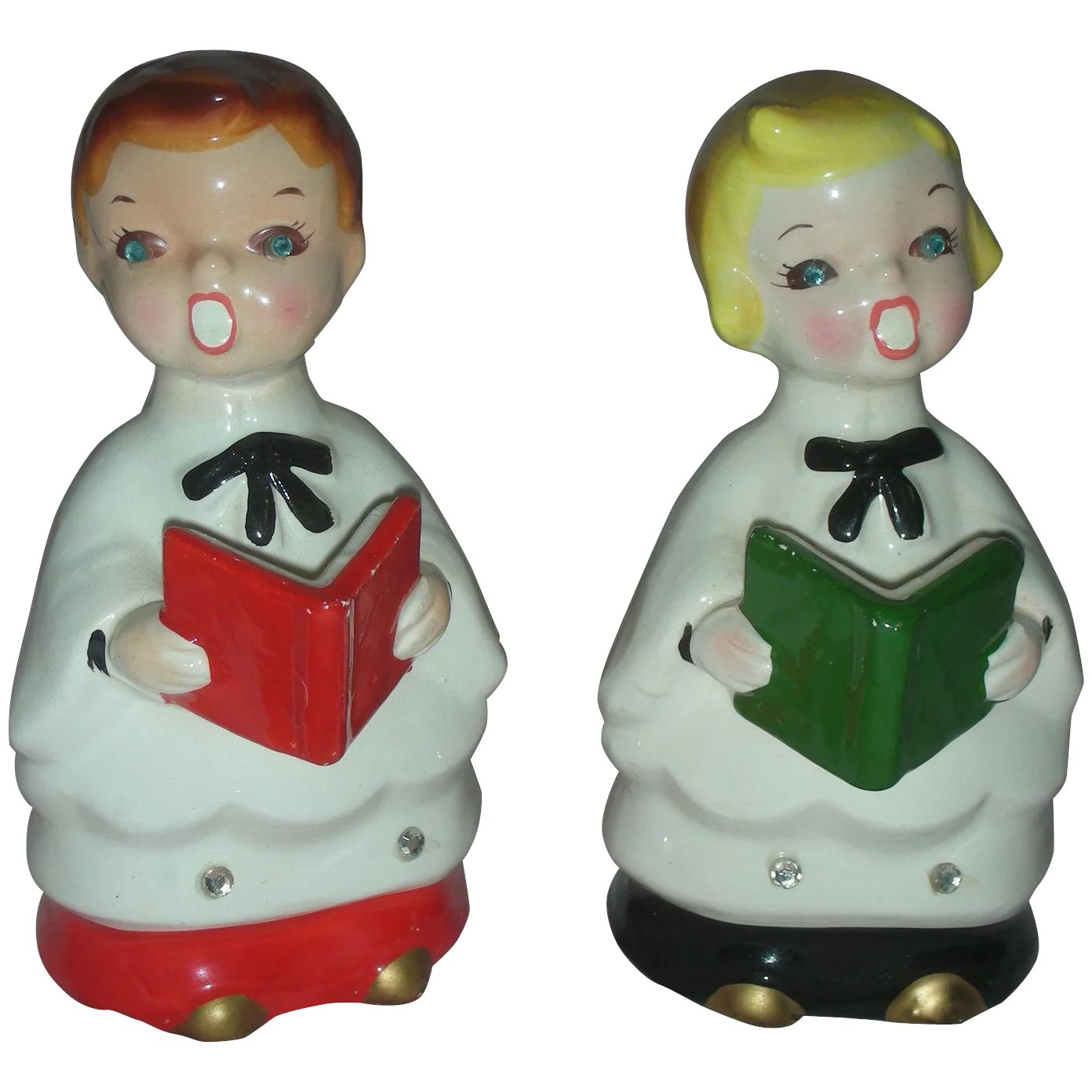 Vintage Ceramic Christmas Carolers Choir Boy And Girl: Vintage Mid Century Choir Boys Boyr And Girl Carolers