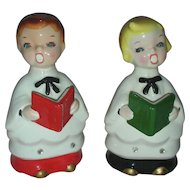 Vintage Mid Century Choir Boys Boyr and Girl Carolers Rhinestone Eyes Christmas Japan Kreiss Figurines