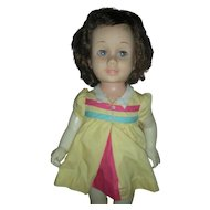 Vintage Brunette Mattel Chatty Cathy Doll wearing Nursery School Dress