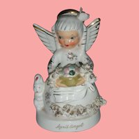 Vintage Napco April Easter Angel Birthday Figurine with Bunny