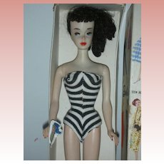 Vintage Number 3 Barbie Brunette Ponytail Doll in Original Box Zebra Swimsuit and Sunglasses