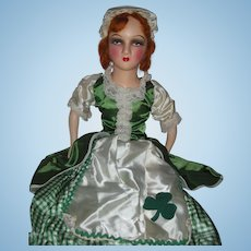 Rare St Patrick's Irish Boudoir Bed Doll Red Hair Shamrock Dress 32 inches Long Excellent