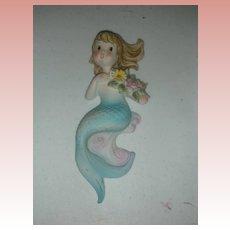 Vintage Lefton Mermaid Wall Plaque Figurine Mid Century Circa 1950s