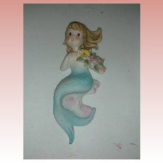 Vintage Lefton Mermaid Wall Plaque Figurine Mid Century Circa 1950s